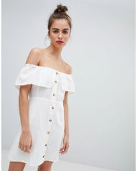 Pull&Bear - Button Down Dress In White - Lyst