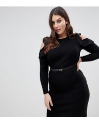 Lipsy - Knitted Midi Dress With Frill Detail - Lyst