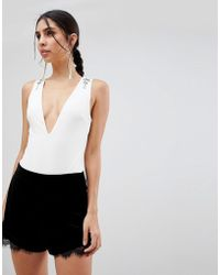 Oh My Love - Deep V Body With Stud Detail - Lyst