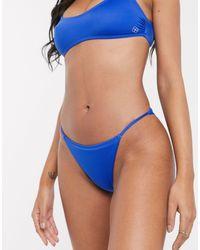 DORINA Rhodes Crop High Leg Tanga Bikini Bottom - Blue
