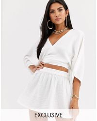 South Beach Exclusive Beach Wrap Top And Skirt Co-ord - White