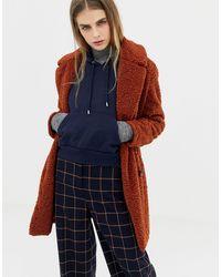 Pull&Bear Пальто Из Искусственного Меха Цвета Ржавчины С Плюшевой Текстурой -красный - Многоцветный
