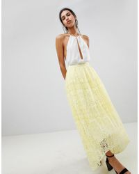 ASOS Lace Maxi Prom Skirt - Yellow