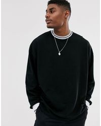 ASOS Pique Oversized Long Sleeve T-shirt With Tipping - Black