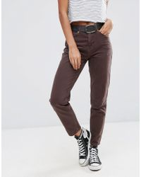 ASOS Original Mom Jeans In Choco Wash - Brown