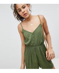 ASOS - Asos Design Tall Playsuit In Crinkle With Button Front - Lyst