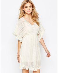 Hazel Lace Flutter Sleeve Dress - Natural