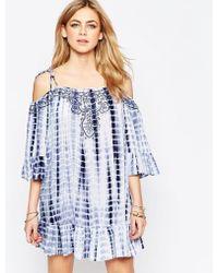Hazel Tie Dye Cold Shoulder Dress - Blue