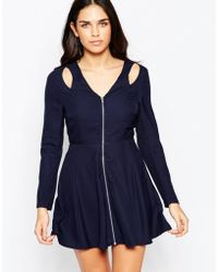 Madam Rage - Zip Front Dress With Shoulder Cut Outs - Lyst