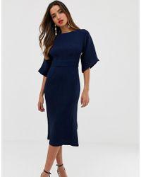 9b2ecf93598e Closet - Vestito longuette blu navy a coste con cintura - Lyst