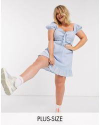 Skylar Rose Plus Milkmaid Mini Dress - Blue