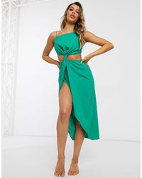 ASOS Cut Out Beach Dress With Tab Detail - Green