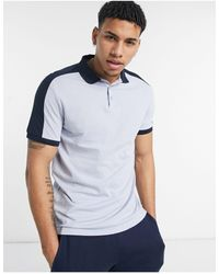 ASOS Organic Polo Shirt With Contrast Shoulder Panel - Blue