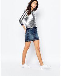 G-Star RAW Arc Denim Skirt With Distressing - Blue