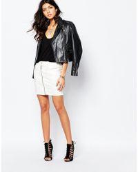 G-Star RAW Lynn Zip Front Denim Skirt - White