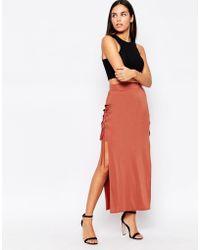 Love Skirt With Lace Up Sides - Brown