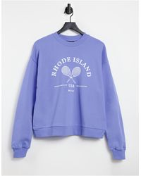 ASOS Oversized Sweatshirt With Tennis Graphic - Blue