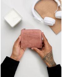 ASOS - Zip Around Wallet In Pink Suede - Lyst