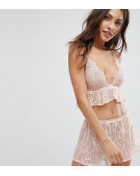 Wolf & Whistle - Pink Lace Cami And Short Pyjama Set - Lyst