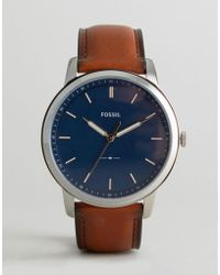 Fossil - Fs5304 Leather Watch In Tan 44mm - Lyst