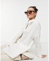 ALIGNE Organic Cotton Oversized Shirt With Pocket Detail - White