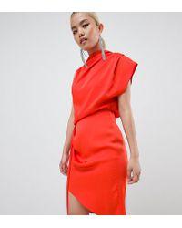 ASOS - Asos Design Petite Satin Drape Midi Dress With Sash Detail - Lyst
