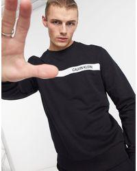Calvin Klein Черный Свитшот С Контрастной Полосой И Логотипом На Груди -черный Цвет