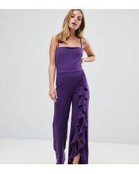 de0da679a57 John Zack - Wide Leg Jumpsuit With exaggerated Ruffle Detail In Purple -  Lyst