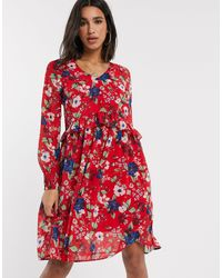 Vero Moda Drop Waist Floral Smock Dress - Red