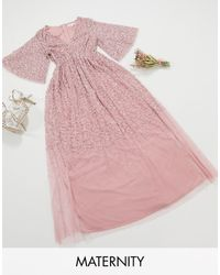 Maya Maternity Bridesmaid Plunge Front Flutter Sleeve Delicate Sequin Maxi Dress - Pink