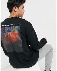 TOPMAN Long Sleeve Oversized T-shirt With Van Gogh Text Print - Black