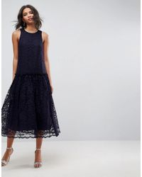 ASOS - Kanten Aangerimpelde Midi-jurk Met Lage Taille - Lyst