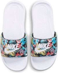 Nike Victori One Tropical Print Sliders - White