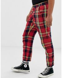ASOS - Relaxed Trousers In Red Check - Lyst