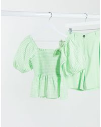 Pieces Shirred Top Co-ord With Peplum And Puff Sleeves - Green