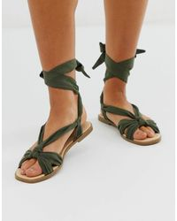 Oasis Ribbon Tie Flat Sandals - Green