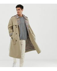 Noak Check Lined Trench Coat In Stone - Natural