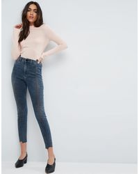 ASOS Asos Ridley High Waist Skinny Jeans With Seamed Split Front In Valentine Dark Mottled Wash - Blue
