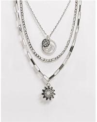 ASOS Ярусное Ожерелье С Подвесками - Металлик