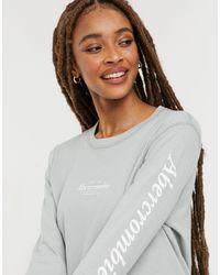 Abercrombie & Fitch Logo Sleeve Crew Neck Long Sleeve T Shirt - Multicolour