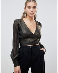 Fashion Union - Cropped Blouse In Metallic - Lyst