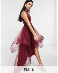 Chi Chi London - Бордовое Асимметричное Платье Для Выпускного Из Органзы -красный - Lyst