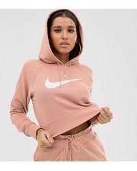 Nike Укороченное Oversize-худи С Логотипом - Розовый