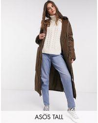 ASOS Asos Design Tall Ruched Sleeve Maxi Puffer Coat - Brown
