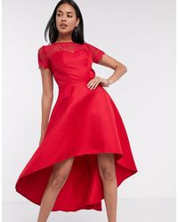 Chi Chi London Красное Платье С Кружевом И Асимметричным Краем -красный