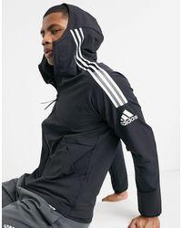 adidas Originals Худи Черного Цвета На Молнии С 3 Полосками Adidas Zne-черный
