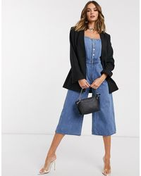 Missguided Combishort en jean à ceinture - Bleu