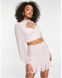 Love Triangle Top d'ensemble façon corset tendance folk avec col montant - lilas à fleurs - Multicolore