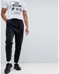 ASOS - Drop Crotch Trousers In Black With Metal Details - Lyst