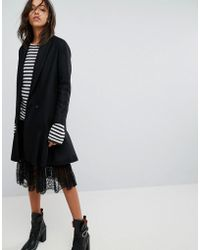 AllSaints - Grace Coat With Asymmetric Skirt - Lyst